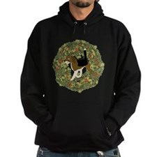 Cartoon Beagle Xmas Wreath Hoodie