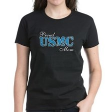 Proud USMC Mom Teal Tee