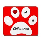 Red I Love My Chihuahua Mouse Pad