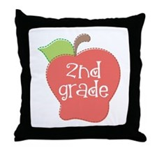 2nd Grade Apple Throw Pillow