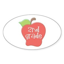 2nd Grade Apple Oval Decal