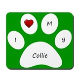 Green I Love My Collie Mouse Pad