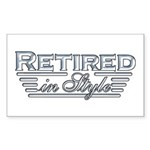 Retired In Style Rectangle Sticker