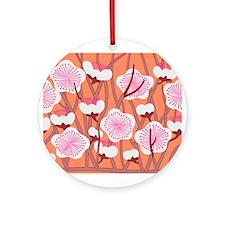 Japanese textile Plum(Ume) Ornament (Round)