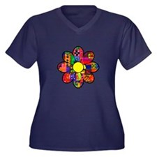 Sixties Flower Women's Plus Size V-Neck Dark T-Shi