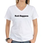 Knit Happens Kitting Happens Women's V-Neck T-Shir