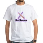Knit Happens Kitting Happens White T-Shirt