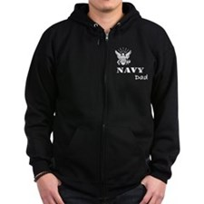 Navy Grunge Dad White Text Zip Hoodie