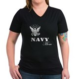 Navy Grunge Mom White Text Shirt