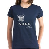Navy Grunge Mom White Text Tee