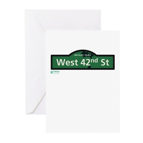 West 42nd Street in NY Greeting Cards (Pk of 10)