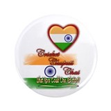 "Cricket, chapati, chai - 3.5"" Button"