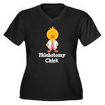 Phlebotomy Chick Women's Plus Size V-Neck Dark T-S