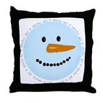 Blue Snowman Throw Pillow