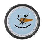 Blue Snowman Large Wall Clock
