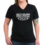 World's Greatest Nurse Women's V-Neck Dark T-Shirt