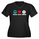 Peace Love Fred Women's Plus Size V-Neck Dark T-Sh
