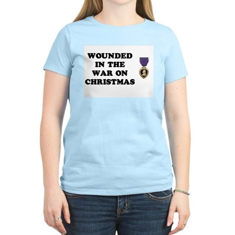 War On Christmas Wounded Women's Pink T-Shirt