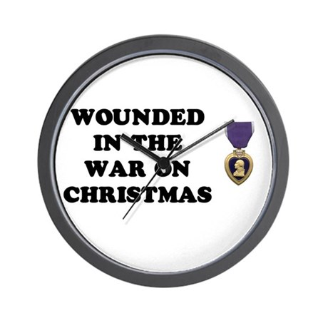 War On Christmas Wounded Wall Clock