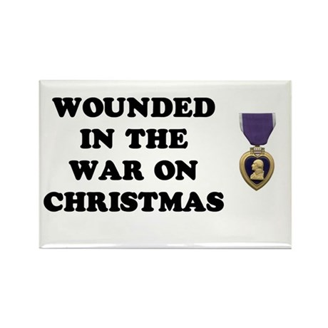War On Christmas Wounded Rectangle Magnet