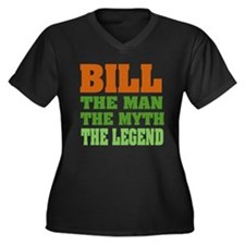 BILL - The Legend Women's Plus Size V-Neck Dark T-