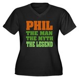 PHIL - The Legend Women's Plus Size V-Neck Dark T-