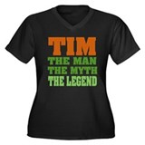 TIM- The Legend Women's Plus Size V-Neck Dark T-Sh