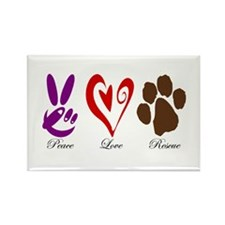 Peace, Love, Rescue Rectangle Magnet (10 pack)