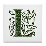 Ivy Leaf Monogram L Tile Coaster