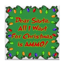 Santa Christmas Ammo Tile Coaster