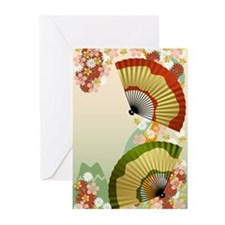 Japanese Fan green Greeting Cards (Pk of 10)