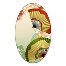 Japanese Fan green Oval Decal