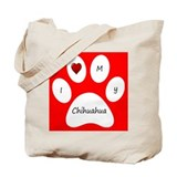 Red I Love My Chihuahua Tote Bag
