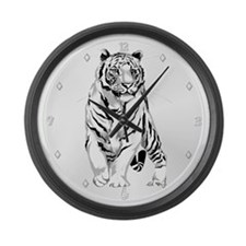 Stately White Tiger Large Wall Clock