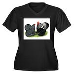 Cochin Couple Women's Plus Size V-Neck Dark T-Shir