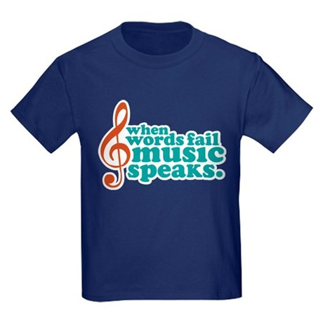 Teal Music Speaks Kids Dark T-Shirt