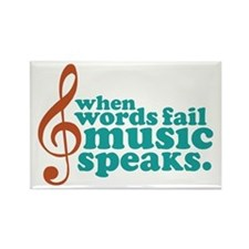 Teal Music Speaks Rectangle Magnet