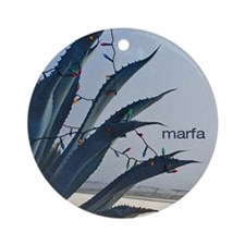 Holiday Ornament (Round): Marfa Agave with lights