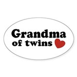 Grandma of Twins Oval Sticker (10 pk)