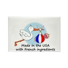 Stork Baby France USA Rectangle Magnet