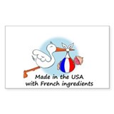 Stork Baby France USA Rectangle Decal