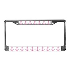 Pink Anchor License Plate Frame