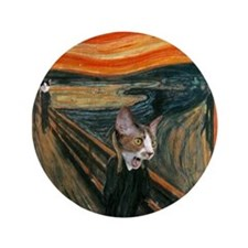 "The Scream with Cats 3.5"" Button"