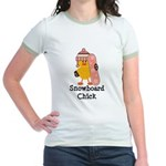 Snowboard Chick Jr. Ringer T-Shirt