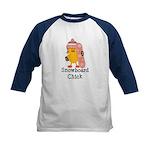 Snowboard Chick Kids Baseball Jersey