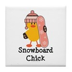 Snowboard Chick Tile Coaster
