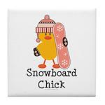 Snowboard Chick Tile Coaster
