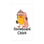 Snowboard Chick Rectangle Sticker 10 pk)