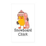 Snowboard Chick Rectangle Sticker 50 pk)