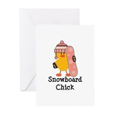Snowboard Chick Greeting Card